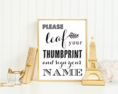 Leaf Your Thumb Print Alternative Wedding Tree Guest Book Sign Printable PDF INSTANT DOWNLOAD