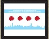 Blackhawks/Chicago Flag Goal Song Flag 8 x10 inches wall art; Chelsea Dagger goal song
