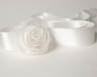 Flower Sash, Bridal Sash, Wedding Belt, Ivory Wedding Sash, Flower Girl Sash, Bridesmaid Sash