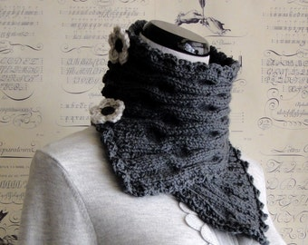 SALE--Scarf Hand Knit Silver Grey ripple knit neckwarmer, Ready to ship