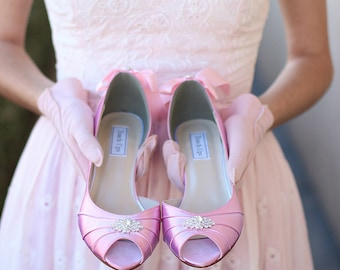 Wedding Shoes - Blush - Crystals - Bows On Heels - Short Heels - Wide Sizes - Over 100 Color Choices - Shoes - Peep Toe - Pink - Parisxox
