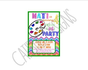 Rainbow Chevron Art Party Printable Invitation