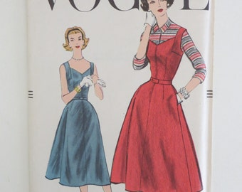 1957 Vogue Uncut Printed Sewing Pattern Dress, Jumper, and Blouse Size 14 No. 9274