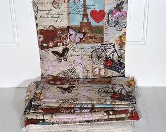 Paris post card theme kitchen towel napkin set // 2 towels // 4 napkins // soft cotton // brown pink blue black ivory // red heart