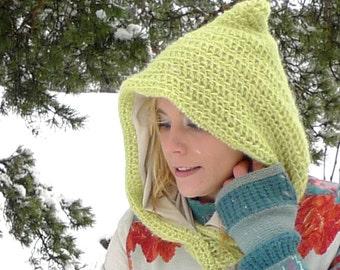 Light Green Elf Hood - Crochet Pixie Hood - Winter Accessories - Hooded Cowl - Fairy Snood - Jersey Lined Mohair - Psytrance Clothing -