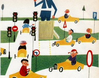 Mid Century Print Children At Toy Store 1950s By