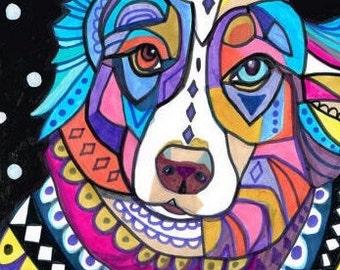 Australian Shepherd Art Print Poster of Painting  art dog Poster Print of painting by Heather Galler of Painting (HG149)