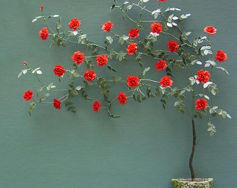 Climbing Rose Paper Flower Kit  for 1/12th scale Dollhouses, Florists and Miniature Gardens