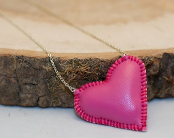 Pink heart - stitched faux leather stuffie necklace - on silver coloured chain