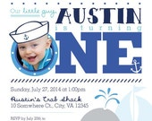 First Birthday or Party Invitation - Nautical Crab and Whale Template // Under the Sea // First Birthday PRINTABLE