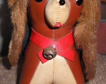 Super Cute Vintage Leather Stuffed Animal~Dog with Fur Ears, Bell around Neck, Japan
