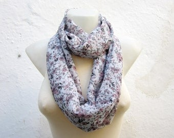 Flower infinity scarf, Loop Scarves, Neckwarmer, Chiffon, Women Floral Necklace, Tube Accessories, Grey Pink Black