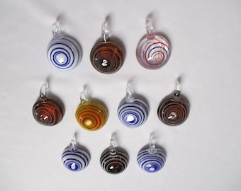 10 GLASS PENDANTS Psychedelic Tornado Swirl Trippy WHOLESALE