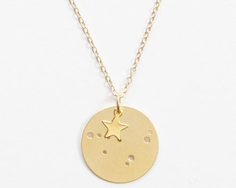 Small Capricorn Constellation Pendant Necklace