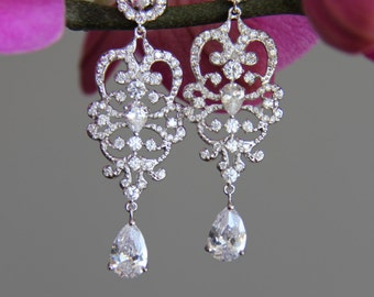 Dangley wedding jewelry, wedding earrings, bridal earrings, silver and clear cubic zirconia earrings, cz earrings