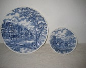 Set of six plates and bowls, blue and white, Royal Essex, English, vintage