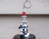 Handmade Beaded Photo, Memo, Recipe, Business Card Holder - Artisan Lampwork Glass Black & White Dog Bead by Teila Hanks of Beastie Beads