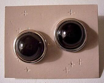 Black Bead Button Pierced Post Stud Earrings Silver Tone Vintage Avon Round Raised Rimmed Edge Domed Center