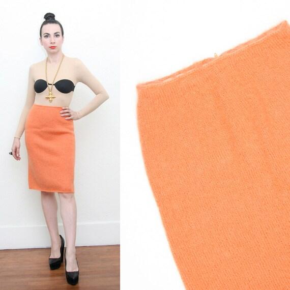 Vintage 60s Mod Orange Knit Pencil High Waist Skirt Small Mad Men Pin Up