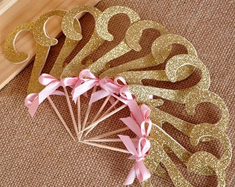 Pink and Gold Birthday Decorations. Handcrafted in 2-3 Business Days.  Glitter Gold Number Cupcake Toppers 12CT.