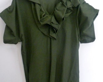 Olive green ruffle neck over size tunic