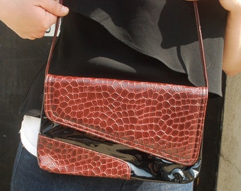 Reptile Clutch Purse Two Tone Maroon Oxblood and Black