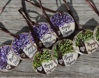 Custom Colors Wedding favor tree branch wood slice tag with tree and initials in heart
