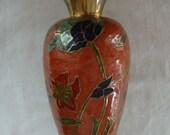 VINTAGE PENSCO Brass Enamel Cloisonne Vase  Made In India Fluted Enamel Vase Brass Fluted Vase hand Made India Cast Brass Floral Enamel