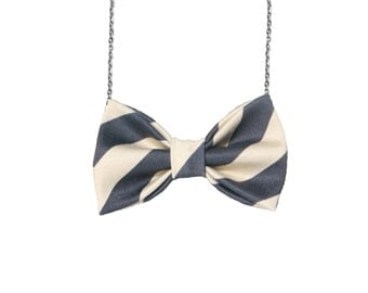 Tan with Navy Blue Stripes - Bow Tie Necklace Bowtie for Women and Girls, Pre Tied Custom Chain Necklace Bowtie, Double Folded BowTie