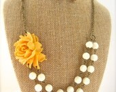 Yellow Statement Necklace Double Strand Beaded Flower Necklace Yellow Bridesmaid Jewelry Set Rustic Wedding Jewelry