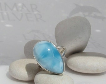 Larimar Ring, A Bite of Sky - iridescent sky blue Larimar pear, topaz blue pear, blue teardrop, Atlantis stone ring, handmade ring  size 5.5