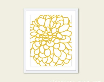 Modern Dahlia Print Dahlia Wall Art  Dahlia Flower Print Flower Art Flower Poster Office Wall Art Office Decor Yellow Flower Art