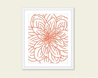 Modern Flower Digital Print Coral Orange  - Flower Wall Art  - Spring Decor - Under 20