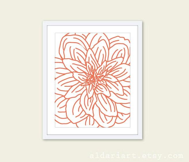 Wall Decor Under 20 : Modern flower digital print coral orange wall art