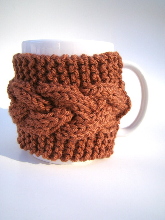 Knit Cozy with MUG Cable Pattern Mug Sweater Mug Cozy Cup Cosy