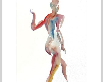 Original Framed, Watercolor painting, 25% OFF SALE! Walking, female, figure, life drawing, woman, standing, back, home decor, wall art, gift