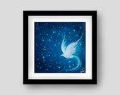 White Bird at Night Archival Art Print - Sapphire Blue and White Room Decor