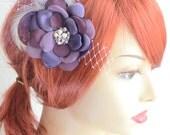 Bridesmaid Purple Vintage Flower Fascinator, Vintage Headpiece,Plum purple and Ivory,Champagne,French netting tulle hair flower fascinator,