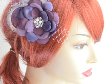 Bridesmaid Purple Vintage Flower Fascinator, Vintage Headpiece,Plum purple and Ivory,Champagne,French netting tulle hair flower fascinator,
