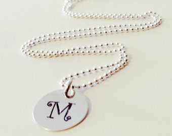 Initial Necklace Silver Charm Hand Stamped Personalized 15 mm