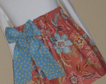 Buy Any 2 Skirts and Get 1 FREE, Cinnamon Floral with Blue Bow Skirt, Size 2, 3, 4, 5, 6, 7, 8, 9, 10, and 12