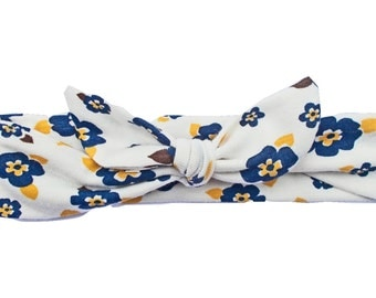 Yellow Blue and White Flower Headband Jersey Knit Top Knot Tie/Knotted Headwrap Baby Toddler Child Adult