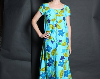 Hawaiian Dress Gown 1960s 60s Vintage  Maxi  M Medium Blue Tiki Hawaii