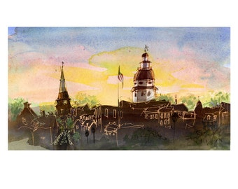 "Sunset at Main & Dock | 8.5"" x 11"" Annapolis Watercolor Archival Print"