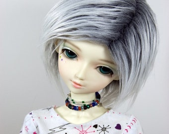 8/9 Grey (Gray) & White Faux (Fake) Fur Wig for SD BJDs, 8-9 Wig