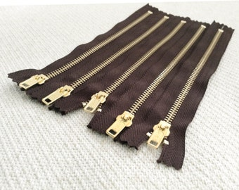 8inch - Dark Chocolate Brown Metal Zipper - Gold Teeth - 5pcs