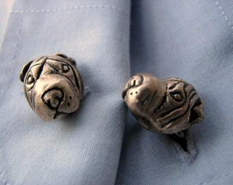 Shar pei dog head cuff links