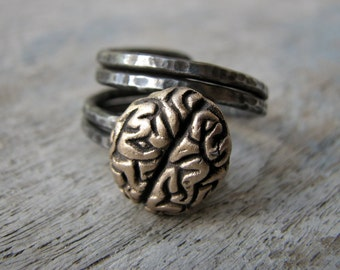 Unique mens brain ring, adjustable, stainless steel
