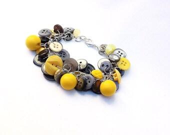 Bracelet Button Charm Bracelet Retro Yellow Charcoal Gray