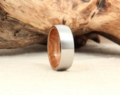 Cobalt Wooden Ring Lined with Whiskey Barrel White Oak Barrel